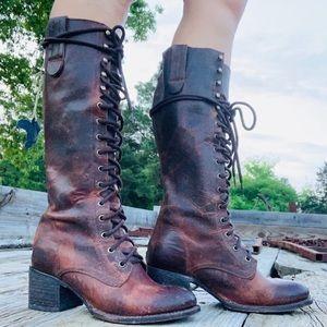 Freebird Bu Steven Granny Cognac Boots Combat Lace